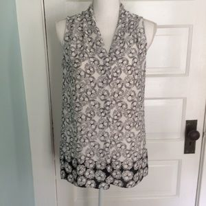 Laundry Sleeveless Black & White Floral Blouse, XS